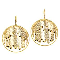Rarities Gold-Plated Diamond and Black Spinel Circle Drop Earrings