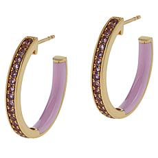 Rarities Gold-Plated Gemstone and Enamel Inside-Outside Hoop Earrings