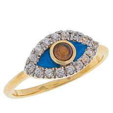 Rarities Gold-Plated Gemstone and White Zircon Evil Eye Ring