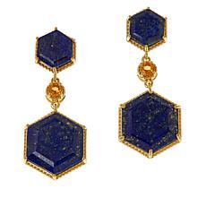 Rarities Gold-Plated Gemstone Hexagon Drop Earrings