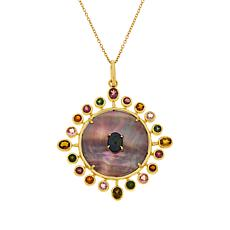 Rarities Gold-Plated Mother-of-Pearl Multi-Gemstone Pendant with Chain