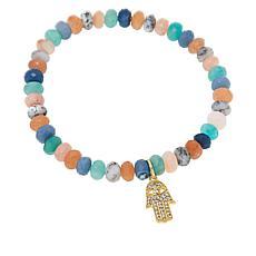 Rarities Gold-Plated Multi-Gemstone Beaded Hamsa Stretch Bracelet