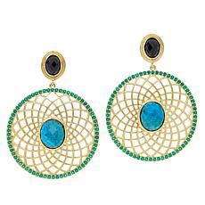 Rarities Gold-Plated Multi-Gemstone Medallion Drop Earrings