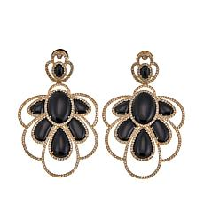 Rarities Gold-Plated Onyx and White Zircon Drop Earrings