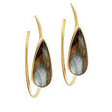 Rarities Gold-Plated Pear-Shaped Gemstone Hoop Earrings