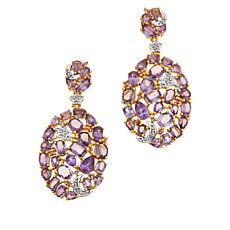 Rarities  Gold-Plated Purple & Pink Sapphire and Diamond Drop Earrings