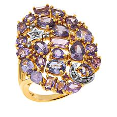 Rarities  Gold-Plated Purple & Pink Sapphire Diamond-Accented Ring