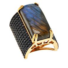 Rarities Gold-Plated Rectangular Gem and Black Spinel Ring