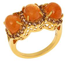 Rarities Gold-Plated Sterling Silver 3-Stone Halo Gemstone Ring