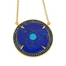 Rarities Gold-Plated Sterling Silver Evil Eye Gemstone Disc Necklace