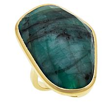 Rarities Gold-Plated Sterling Silver Freeform Emerald Ring