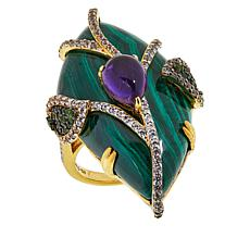 Rarities Gold-Plated Sterling Silver Malachite and Gem Freeform Ring