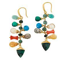 Rarities Gold-Plated Sterling Silver Multigemstone Dangle Earrings