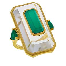 Rarities Gold-Plated Sterling Silver Rock Crystal Green Agate Ring