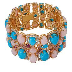 "Rarities Goldtone Blue Howlite and Multi-Gemstone 7"" Cluster Bracelet"