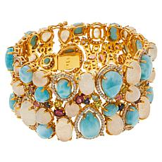 Rarities Goldtone Moonstone, Larimar and Multigemstone Bracelet