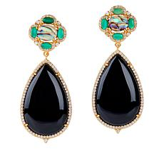 Rarities Goldtone Multi-Gemstone Oval and Pear Drop Earrings