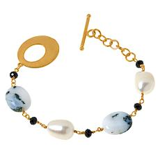 Rarities Goldtone Opal, Cultured Pearl and Gemstone Bracelet