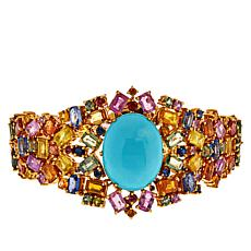 Rarities Goldtone Turquoise and Multicolored Sapphire Tapered Bracelet