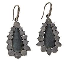 Rarities Gray Cat's Eye Quartz and Polki Diamond Earrings