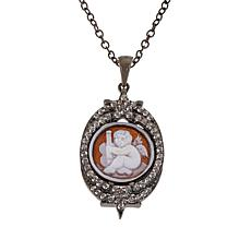 "Rarities ""Little Angel"" Carved Sardonyx Shell Cameo Pendant with Chain"
