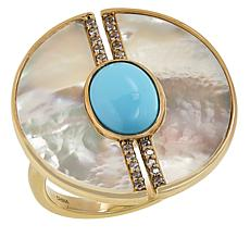 Rarities Multi-Gem Round Half-Circle Ring