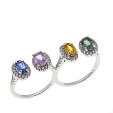 Rarities Multicolored Sapphire & Zircon 2-Finger Ring