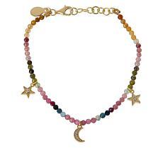Rarities Multicolored Tourmaline Faceted Bead & Zircon Charm Bracelet