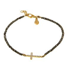 Rarities Pyrite and White Zircon Cross-Design Anklet