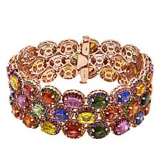 Rarities Rosetone Multi-Color Sapphire and Multi-Gem Cluster Bracelet