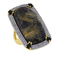 Rarities Rutilated Quartz and Onyx Doublet Multigem Rectangular Ring