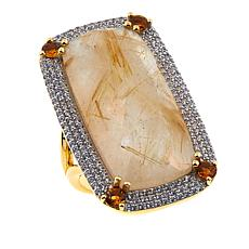 Rarities Rutilated Quartz Doublet Multigem Rectangular Vermeil Ring