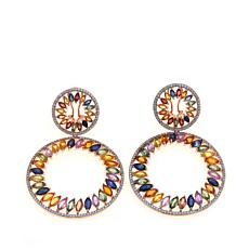 Rarities Sapphire & White Zircon Double-Circle Earrings