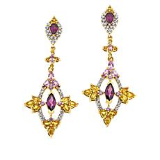 Rarities Sapphire, White Zircon and Purple Rhodolite Drop Earrings