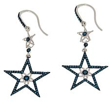 Rarities Sterling Silver Blue Diamond Star Drop Earrings