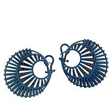 Rarities Sterling Silver Blue Rhodium Black Spinel Earrings