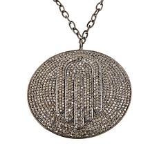 Rarities Sterling Silver Champagne Diamond Disc Drop Necklace