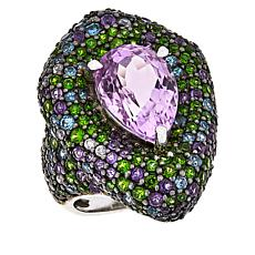 Rarities Sterling Silver Kunzite and Multi-Gemstone Pear-Shaped Ring
