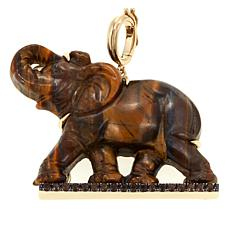 Rarities Tiger's Eye and Smoky Brown Quartz Elephant Enhancer Pendant