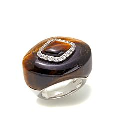Rarities Tiger's Eye and White Zircon Ring
