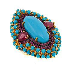 Rarities Turquoise and Gemstone Marquise-Shaped Ring
