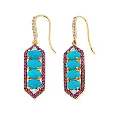 Rarities Turquoise, Ruby & White Zircon Dangle Earrings