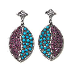 Rarities Turquoise, Ruby & White Zircon Drop Earrings