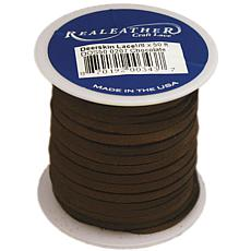 """Realeather Crafts Deerskin Lace .125"""" x 50' Spool - Chocolate"""