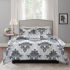 Rebecca 9pc Complete Bed and Sheet Set - Q/Black & Gray
