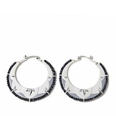 "Rebecca Hook Black Spinel ""Leaf"" Hoop Earrings"