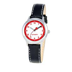 Red Balloon Kid's Time-Teacher Watch with Black Leather Strap