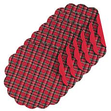 Red Plaid Round Placemat Set of 6