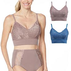 Rhonda Shear 2-pack Lace Leisure Bra with Removable Pads