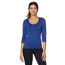 Rhonda Shear 3/4 Sleeve Seamless Tee with Shelf Bra
